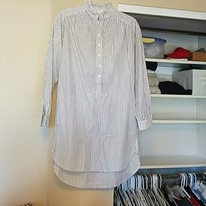 H&M shirt dress white with dark gray stripes